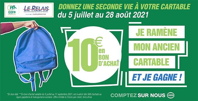 Obtenez jusqu'à 30€ en coupons d'achat Cora en rapportant des cartables