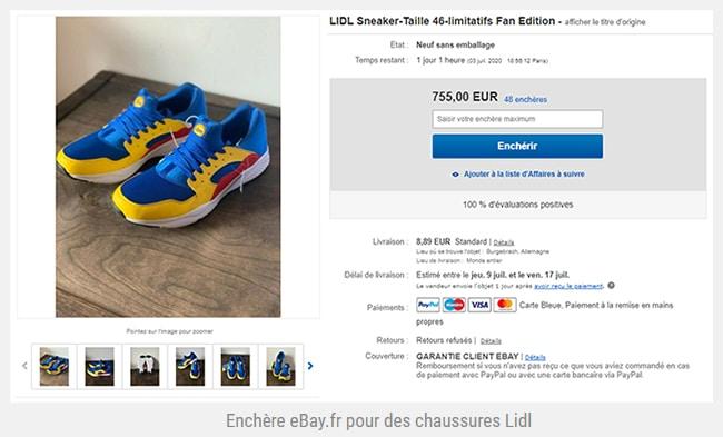 enchère chaussures Lidl sur Ebay