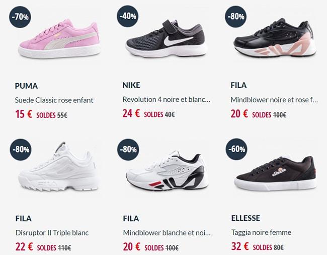 Fila, Nike, Puma, Adidas, Converse ... jusqu'à -80% chez Chausport