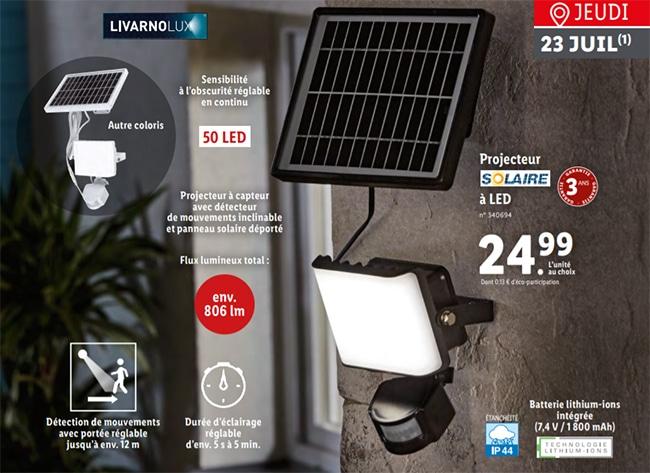 Projecteur à détecteur de mouvement Livarnolux à petit prix chez Lidl
