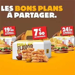 Bon plan à partager Burger King : Menus + nuggets moins chers