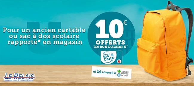 Rapportez vos cartables et obtenez jusqu'à 50€ en bons d'achat U
