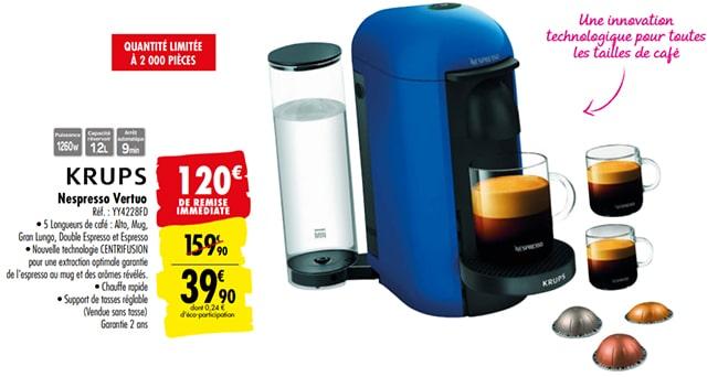 Machine à café Nespresso Vertuo moins chère chez Carrefour