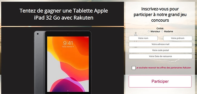 Tentez de gagner une tablette iPad d'Apple avec Rakuten