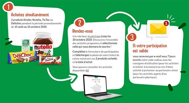 Comment obtenir un code cadeau ou un bon d'activité offert après avoir acheté deux produits Ferrero