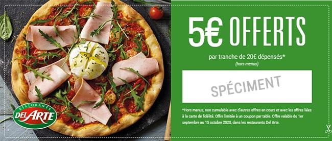 Obtenez un coupon de 5€ offert pour un repas Del Arte moins cher