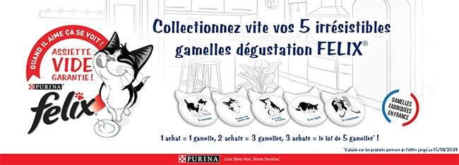 Collectionner les 5 gamelles Felix en achetant des produits éligibles