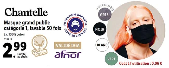Masques anti-Covid19 Chantelle à petit prix chez Lidl