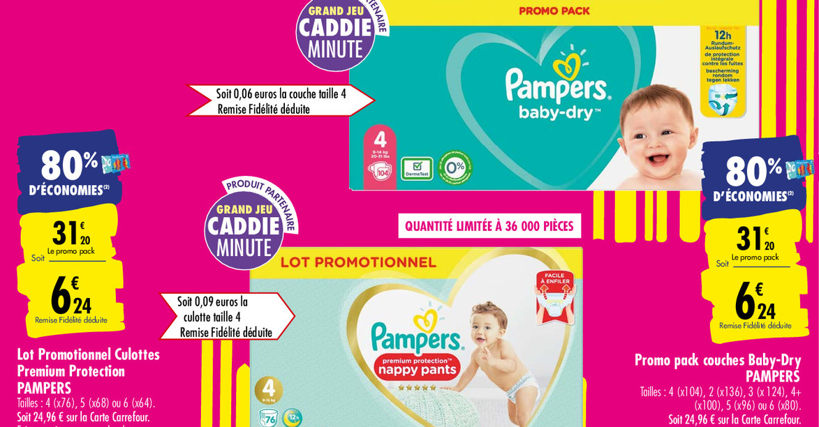 Carrefour Promo Couches Pampers 70 Grand Pack A 9 45