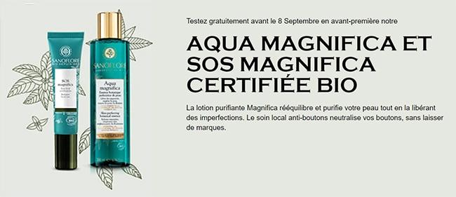Tentez de tester gratuitement Aqua Magnifica et SOS Magnifica de Sanoflore