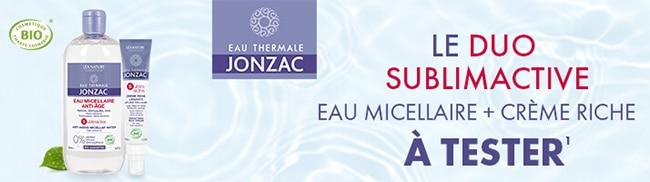 Testez gratuitement l'eau micellaire et la crème riche Sublimactive de Jonzac