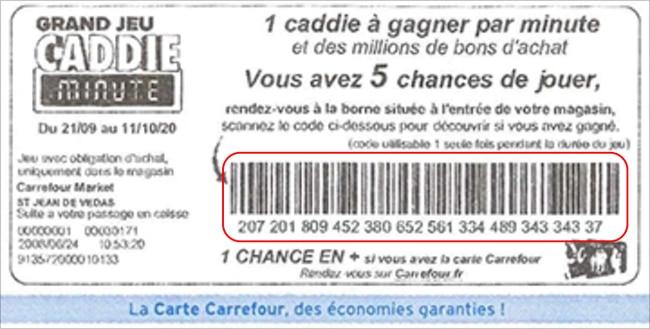 Exemple de coupon Caddie Minute