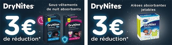 Bons de 3€ pour des protections absorbantes jetables DryNites moins chères