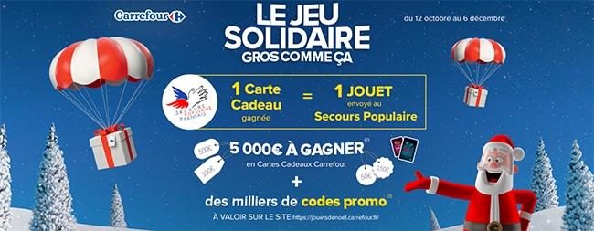 Bon d'achat et e-cartes cadeau à gagner avec le jeu Solidaire de Carrefour