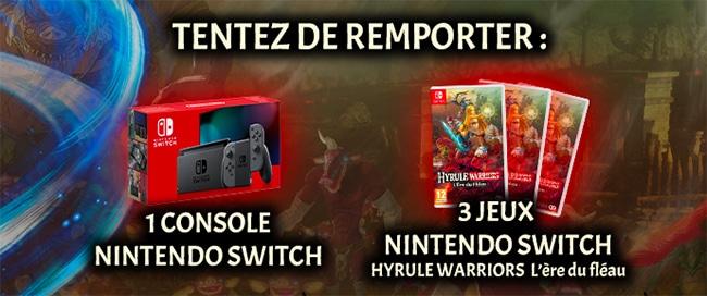 Nintendo Switch et jeu Hyrule Warrior à gagner