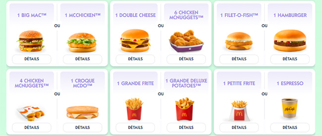 Les produits McDonald's à gagner