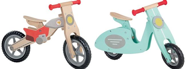 Draisiennes en bois scooter ou moto cross pas chères chez Lidl