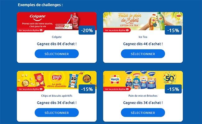 Exemples de challenges Carrefour