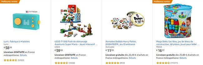 exemples de jouets en promo sur amazon