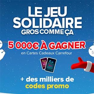 Jeu Solidaire Carrefour : Cartes cadeaux & bons d'achat à gagner