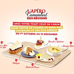 Jeu L'Apéro Camembert des régions Président : kit apéritif et week-end à gagner