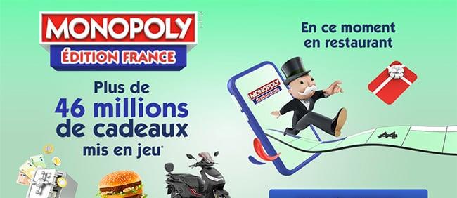 Principe du jeu Monopoly 100% gagnant 2021 de McDo