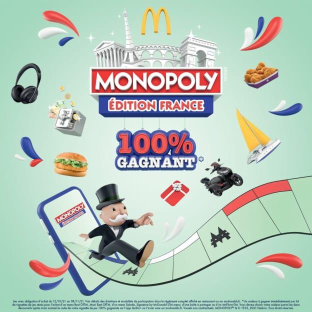 Monopoly McDo 2021 : Vignette 100% gagnante