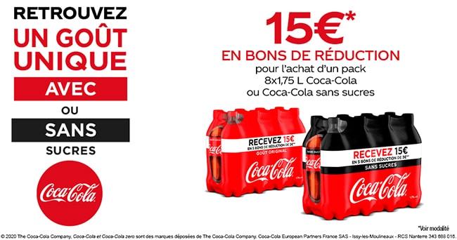 Obtenez des bons de réduction pour l'achat d'un pack de 8 bouteilles de Coca-Cola