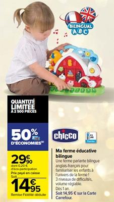Promo Ferme éducative bilingue Chicco chez Carrefour