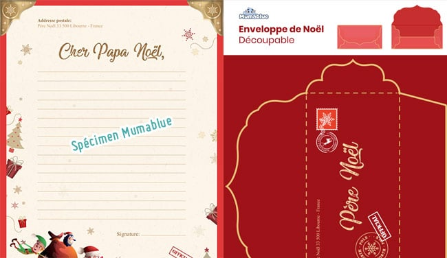 Imprimez gratuitement l'enveloppe et la lettre officielle pour le Père Noël