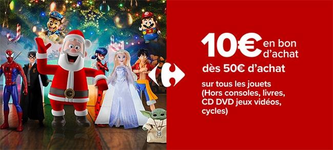 Les jouets de Carrefour vous rapportent 10€ en coupon par tranche de 50€ d'achat