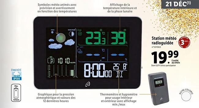 Station météorologique radioguidée à petit prix chez Lidl