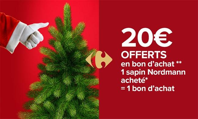Carrefour Market = sapin acheté = bon d'achat de 20€