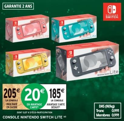 Promotion Nintendo Switch Lite chez Intermarché
