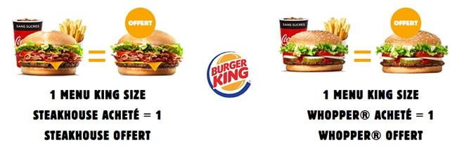 Obtenez un Whopper ou un Steakhouse offert pour un menu King Size acheté