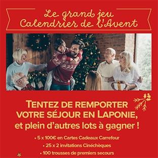 Jeu Calendrier de l'Avent Carrefour : cadeaux à gagner