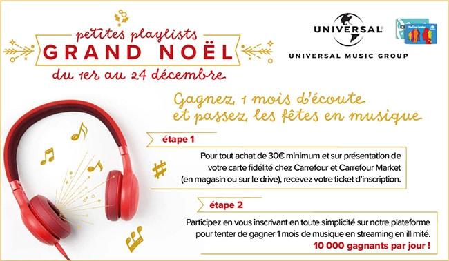 Concours Carrefour sur playlistscarrefour.fr
