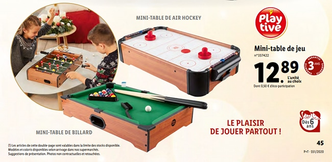 Mini billard ou table de Air Hockey Playtive à petit prix chez Lidl
