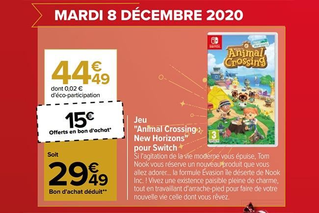 Jeu Animal Crossing New Horizons en promo à Carrefour