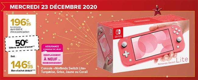 promo Carrefour : Bon offert sur la Nintendo Switch Lite