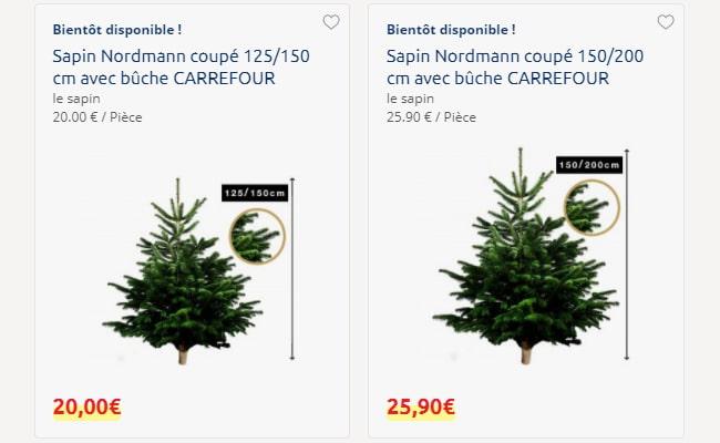 exemple de tarifs des sapins pas chers de Carrefour Market
