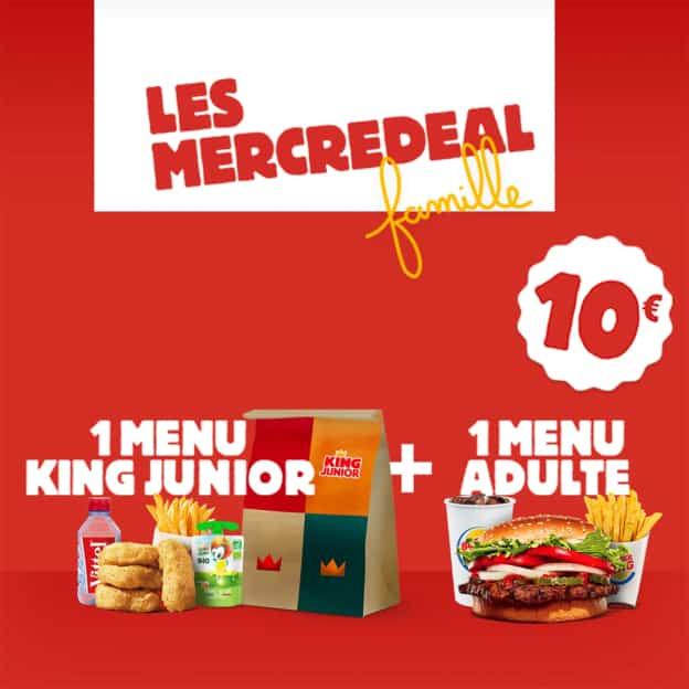 Burger King Mercredeal Famille : Menus adulte + enfant à 10€
