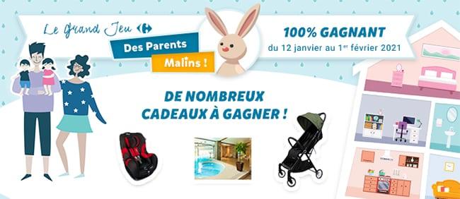 Tentez de gagner un cadeau avec le jeu des Parents Malins de Carrefour