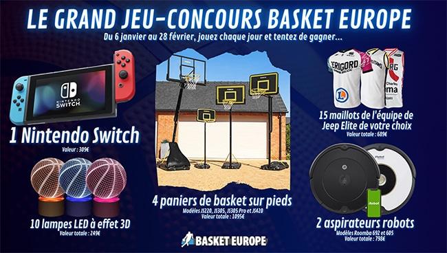 Les cadeaux à gagner au jeu Basket Europe