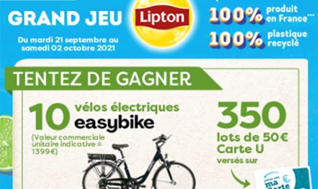 Magasins U Jeu Lipton : 10 vélos et 350 lots de 50€