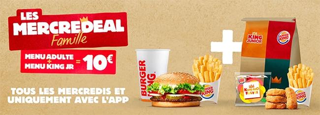 Mercredeal Famille : Menu adulte + enfant à petit prix chez Burger King