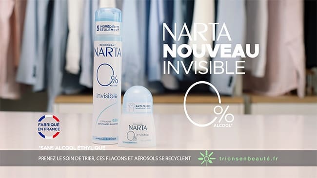 recevez gratuitement un déodorant Narta Invisible 0% sans alcool
