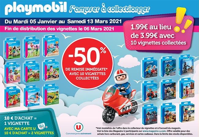 réduction sur les produits Playmobil avec les vignettes à collectionner U