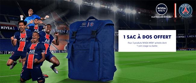 Recevez un sac à dos PSG offert avec vos produits Nivea Men achetés