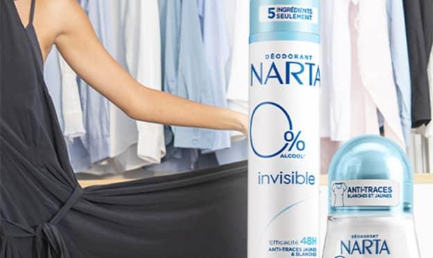 Test Narta : déodorants Invisible 0% gratuits